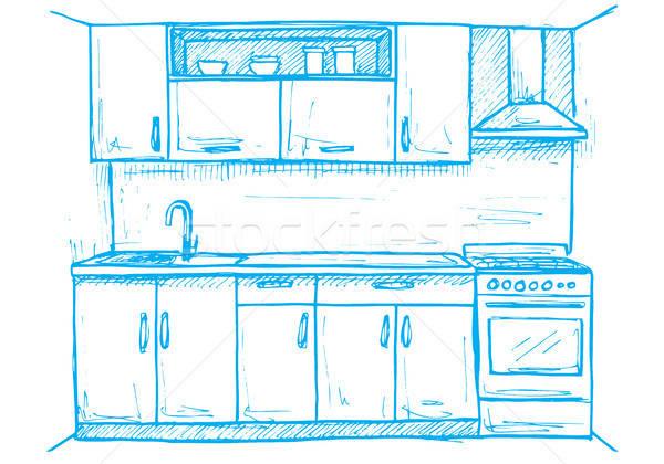Nowoczesne kuchnia meble szkic stylu Zdjęcia stock © Arkadivna