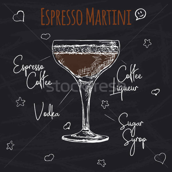 Simple recipe for an alcoholic cocktail Espresso Martini. Drawing chalk on a blackboard. Vector illu Stock photo © Arkadivna
