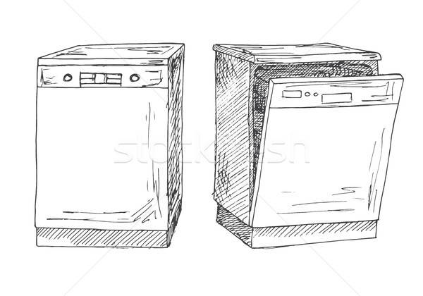 Dishwasher isolated on white background. Vector illustration of a sketch style. Stock photo © Arkadivna
