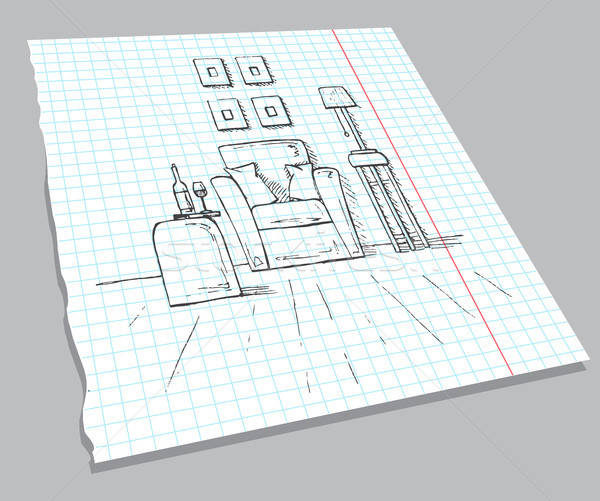 Hand drawn sketch of the interior on a notebook sheet. Armchair, coffee table with a glass and bottl Stock photo © Arkadivna