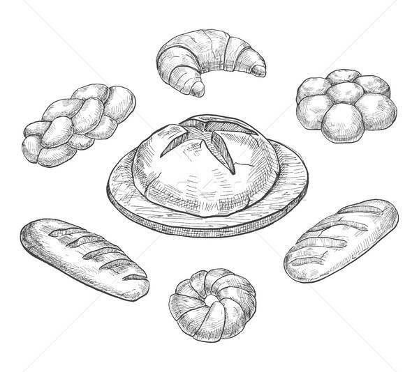 Buns, croissant, loaf, bread, baking isolated on white background. Vector illustration of a sketch s Stock photo © Arkadivna