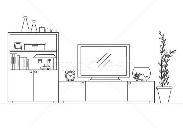Linear interior with a closet, TV and aquarium. Vector illustration. Stock photo © Arkadivna