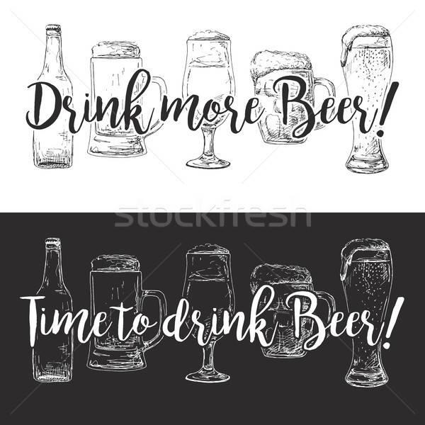 Stok fotoğraf: şişe · bira · farklı · gözlük · beyaz · metin