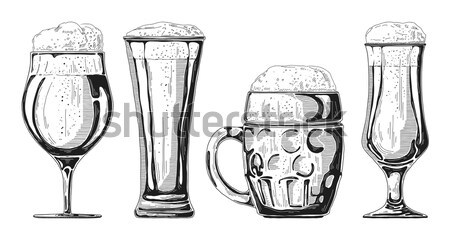 Bottle of beer, different glasses and mugs of beer. Vector illustration of a sketch style. Stock photo © Arkadivna