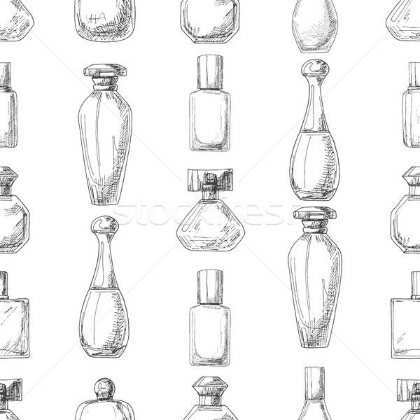 Seamless pattern with perfume bottles.  Vector illustration of a sketch style. Stock photo © Arkadivna