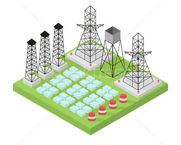 Electric power station with power poles and batteries. Stock photo © Arkadivna