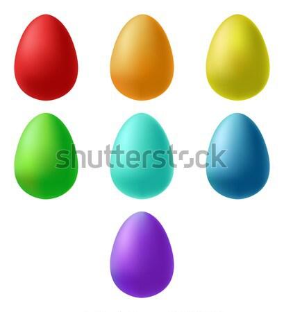Conjunto ovos de páscoa desenho animado estilo primavera projeto Foto stock © Arkadivna