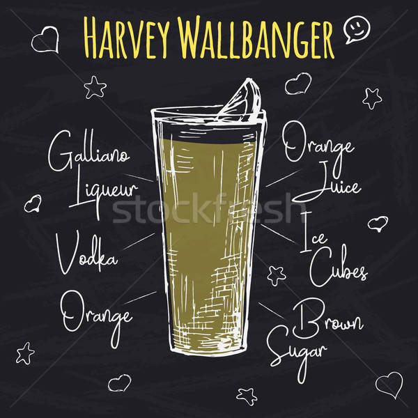 Simple recipe for an alcoholic cocktail Harvey Wallbanger. Drawing chalk on a blackboard. Vector ill Stock photo © Arkadivna