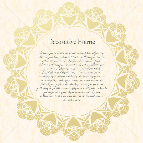 Vintage gold round frame on a textural background. Vector illustration. Stock photo © Arkadivna