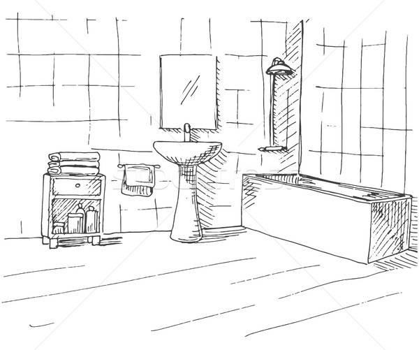 Dibujado a mano boceto lineal interior bano pared Foto stock © Arkadivna
