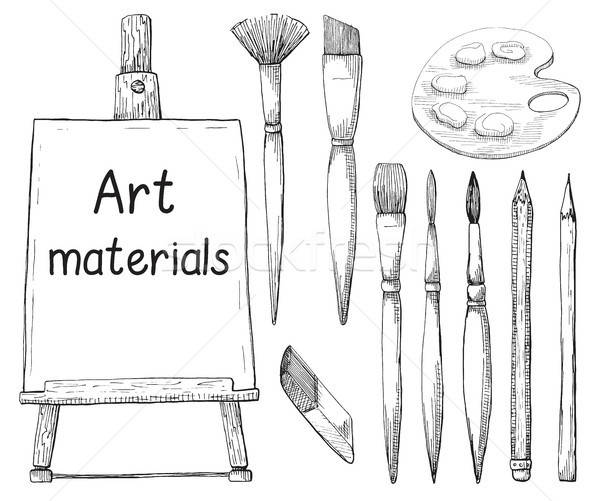 Hand drawn art material isolated on white background. The inscription on the canvas Atr materials. V Stock photo © Arkadivna