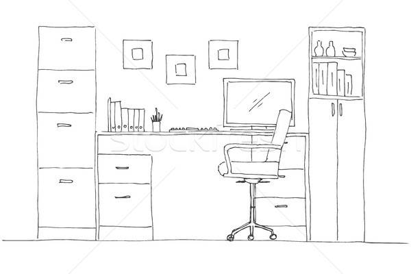 Sketch the room. Office chair, desk, various objects on the table. Sketch workspace. Vector illustra Stock photo © Arkadivna