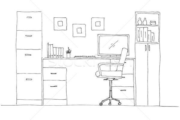 Rajz szoba irodai szék asztal különböző tárgyak Stock fotó © Arkadivna