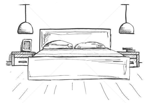 Hand drawn sketch. Linear sketch of an interior. Sketch Line bedrooms. Vector illustration. Room pla Stock photo © Arkadivna
