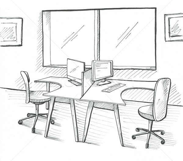 Open ruimte kantoor buitenshuis stoelen illustratie Stockfoto © Arkadivna