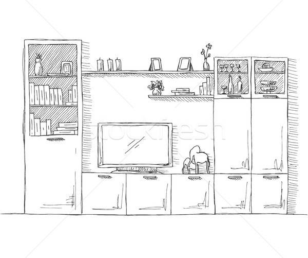 Hand drawn sketch. Linear sketch of the interior. Bookcase, dresser with TV and shelves. Vector illu Stock photo © Arkadivna
