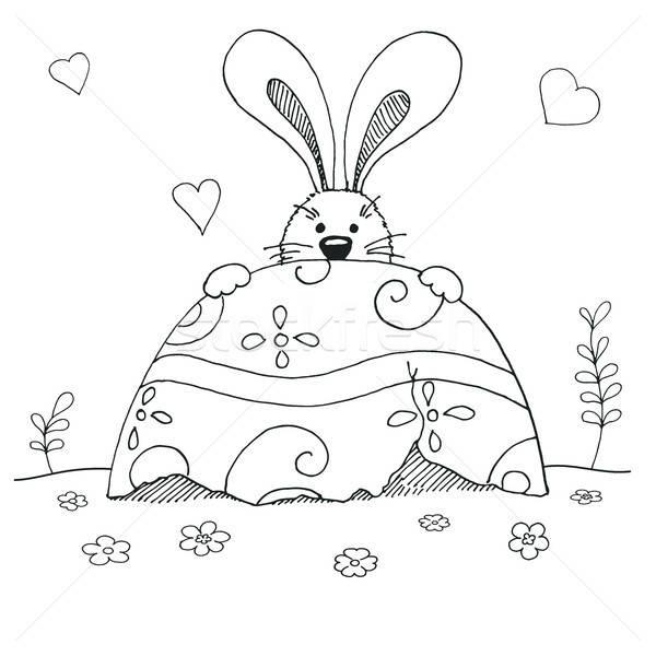 Stok fotoğraf: Kroki · easter · bunny · easter · egg · vektör · iyi · paskalyalar · bahar