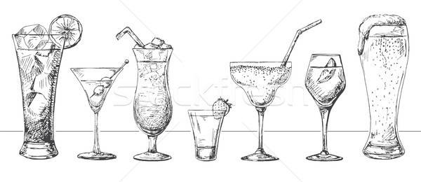 Foto stock: Conjunto · diferente · óculos · cocktails · esboço · estilo