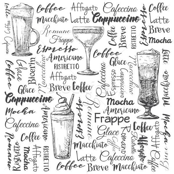 Foto stock: Diferente · café · cocktails · esboço · estilo · festa