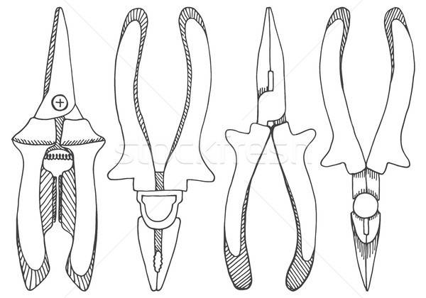 Set of pliers, pincers, and pruning scissors. Tools illustration Stock photo © Arkadivna