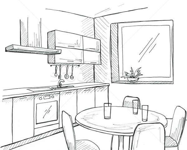 hand gezeichnet k che fenster skizze stift wand stock foto nadiia oborska. Black Bedroom Furniture Sets. Home Design Ideas