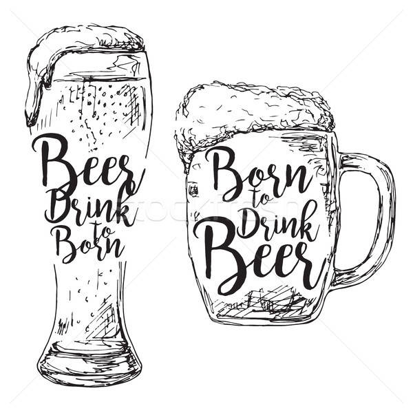 Different glasses of beer inscription. Born to drink beer. Vector illustration of a sketch style. Stock photo © Arkadivna