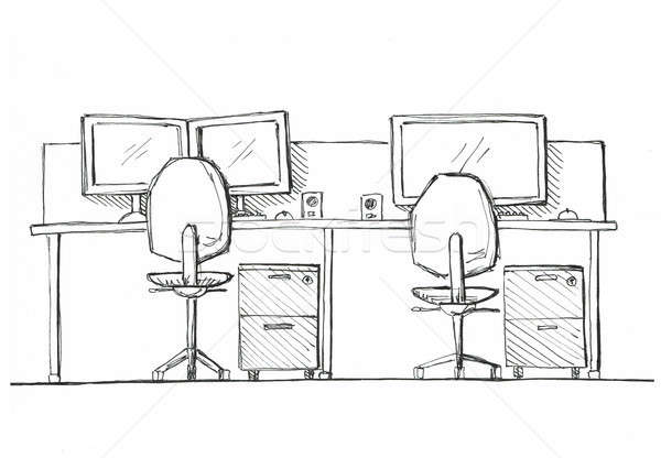 Open Space office. Workplaces outdoors. Tables, chairs. Illustration in a sketch style. Stock photo © Arkadivna