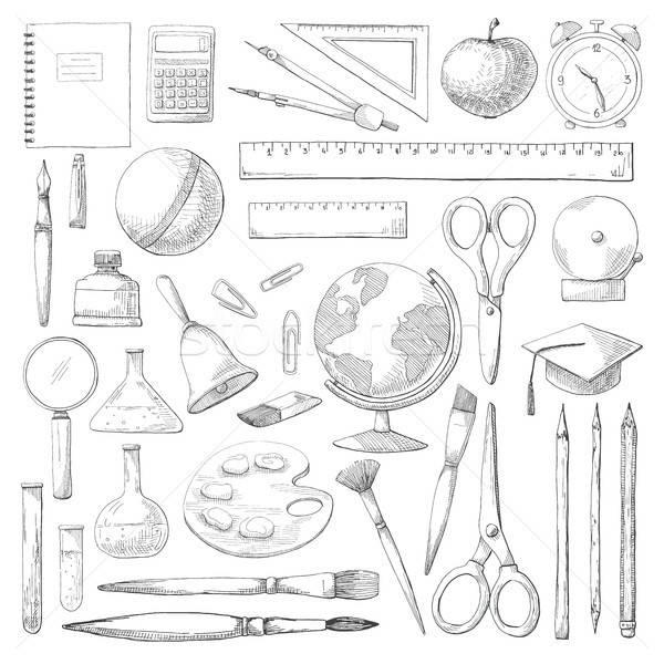 手描き 異なる 学用品 孤立した 白 スケッチ ストックフォト © Arkadivna