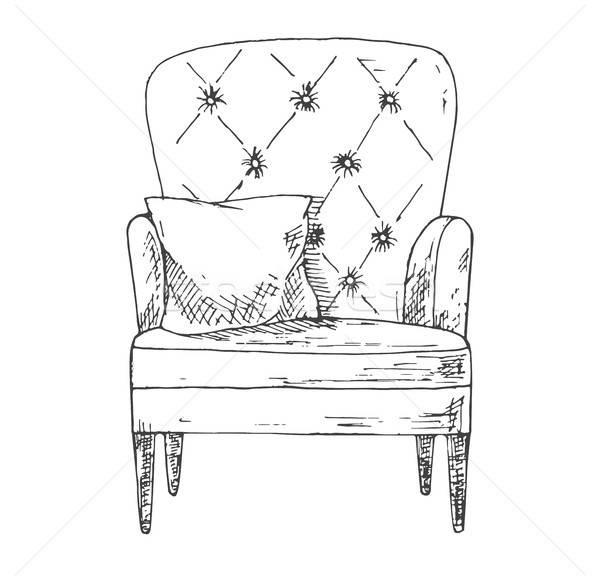 Dessinés à la main soft président oreiller croquis style Photo stock © Arkadivna