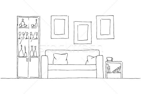 Linear Skizze Innenraum Hand gezeichnet Stil Wand Stock foto © Arkadivna