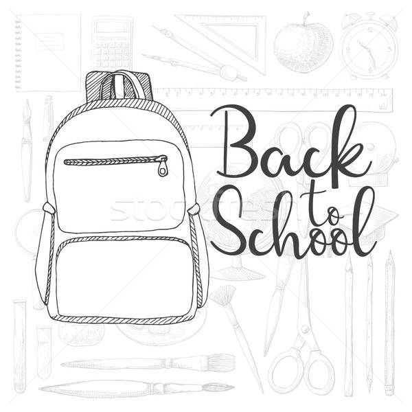 Background with different stationery. The inscription Back to school. Vector illustration of a sketc Stock photo © Arkadivna