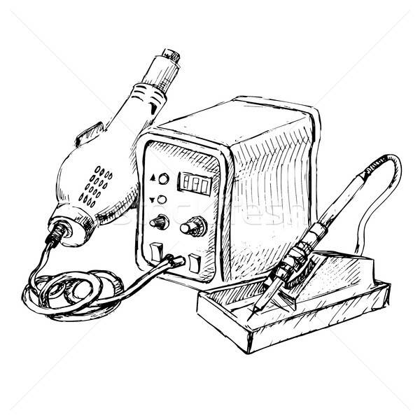 Sketch of Hot Air Rework Soldering Iron Station. Vector illustration. Stock photo © Arkadivna