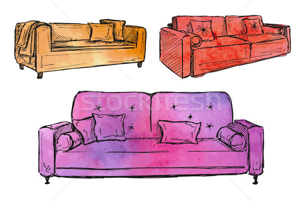 Three sofas isolated on white background.Vector illustration in a sketch style.Stylized watercolor. Stock photo © Arkadivna