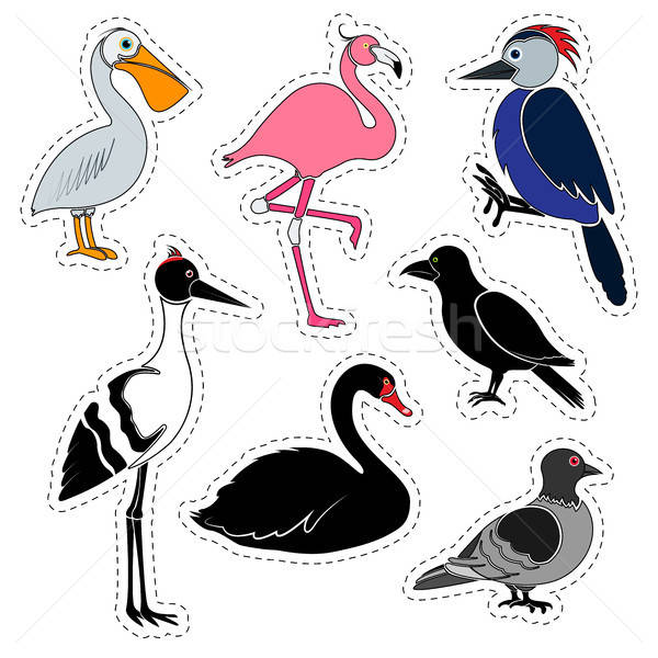 Set of stickers. Different birds isolated on white background.  Stock photo © Arkadivna