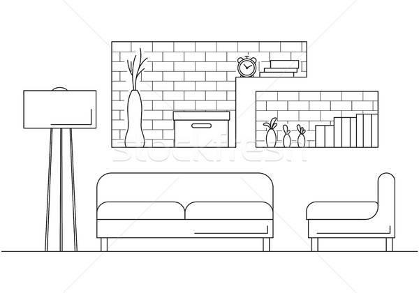 Armchair, sofa, lamp and other elements. Interior in Scandinavian style. Vector illustration in a li Stock photo © Arkadivna