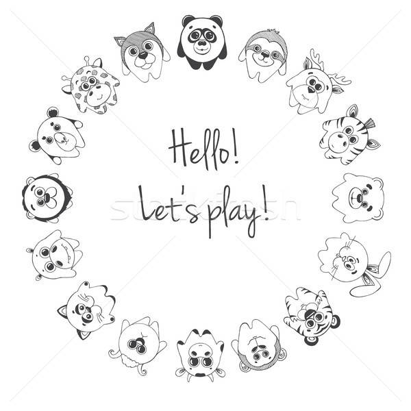 Különböző aranyos állatok felirat hello játék áll Stock fotó © Arkadivna