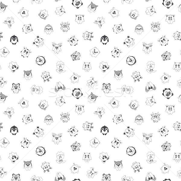 Seamless pattern with different cute animals. Children's pattern for decoration. illustration of a s Stock photo © Arkadivna