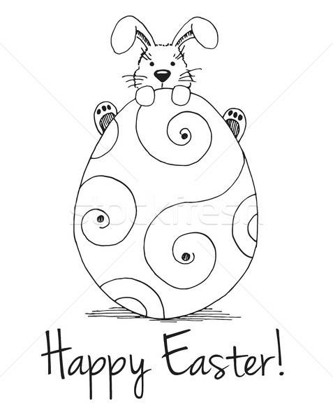 Sketch of Easter bunny and Easter egg. Vector. Happy easter Stock photo © Arkadivna