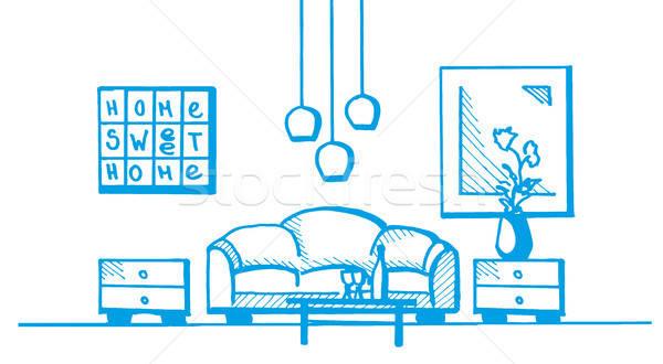 Liniowy szkic wnętrza pokój plan Zdjęcia stock © Arkadivna