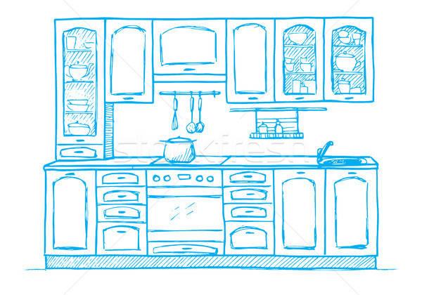 Retro cozinha mobiliário esboço estilo Foto stock © Arkadivna