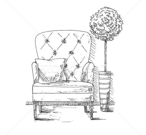Macio cadeira travesseiro planta alto Foto stock © Arkadivna