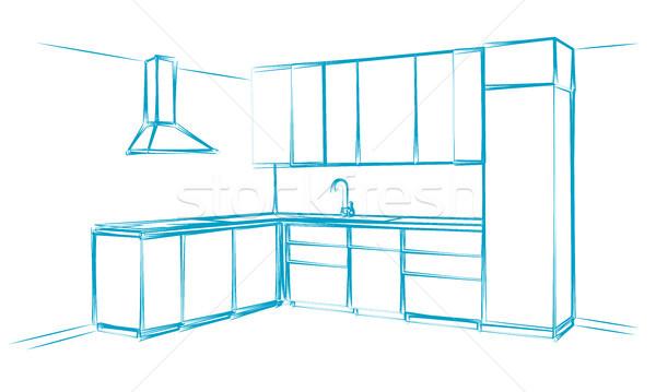 Mutfak mobilya kroki mavi Stok fotoğraf © Arkadivna
