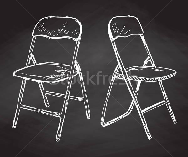 Stockfoto: Twee · stoelen · krijt · schoolbord · schets