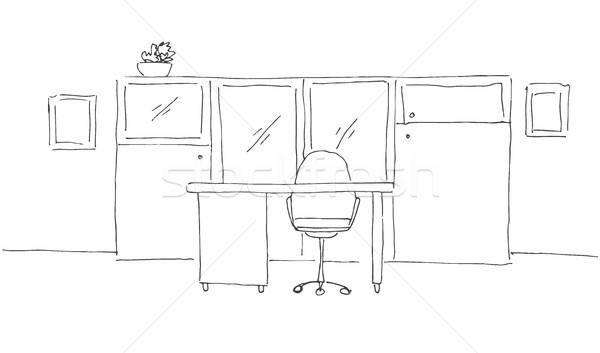 Ofis kroki stil mobilya bilgisayar Stok fotoğraf © Arkadivna