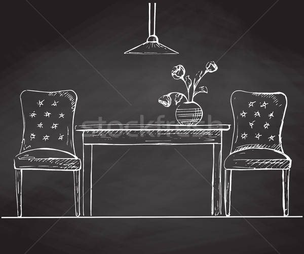 Two chairs and a table on the chalkboard. Vector illustration in a sketch style. Stock photo © Arkadivna
