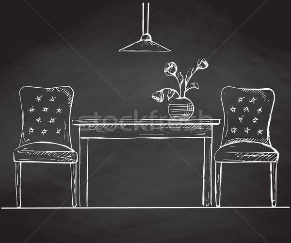 Deux chaises table tableau croquis style Photo stock © Arkadivna