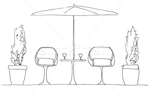 Two armchairs and a table. Large folding umbrella. Hand drawn vector illustration Stock photo © Arkadivna