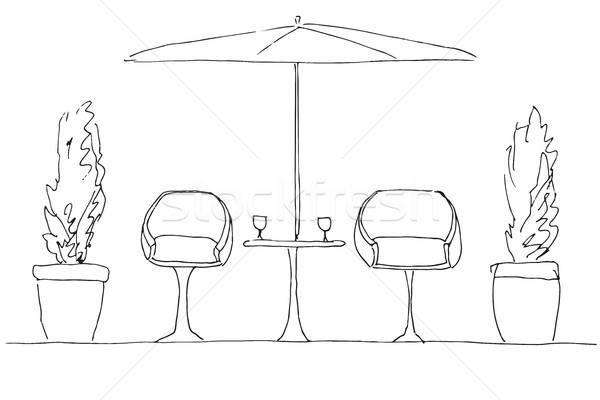 Deux table parapluie dessinés à la main main Photo stock © Arkadivna