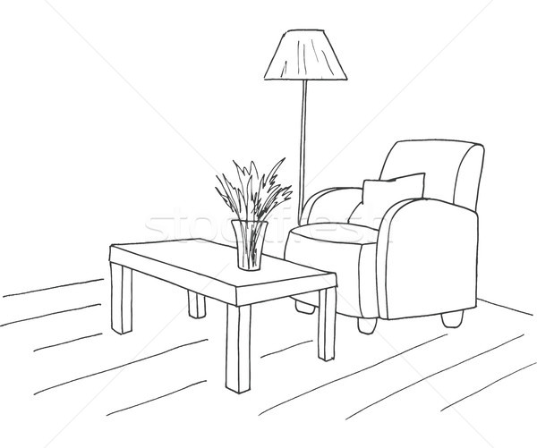Armchair, table with a vase. Floor lamp. Hand drawn vector illustration of a sketch style. Stock photo © Arkadivna