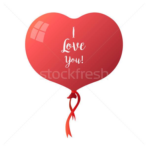 Heart balloon isolated on white background. The inscription on the ball: I love you. Vector illustra Stock photo © Arkadivna